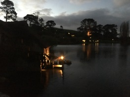 The water mill and lake at night