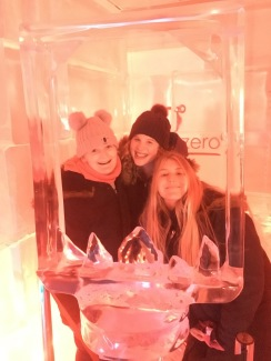My friends from the bus and me and the Ice Bar