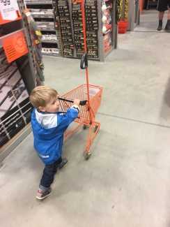 He also really loves pushing the trolley in Mega-10 (Home Depot)