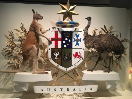 Australian Crest, done in real life with taxidermy animals?