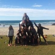 We suceeded at making a human pyramid...
